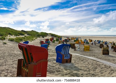 Beach chairs on the island of Juist, Germany