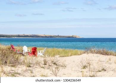 Beach chairs on Lake Michigan near Glen Arbor