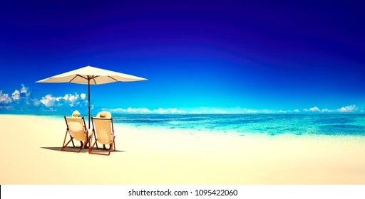 Beach chairs on a tropical beach