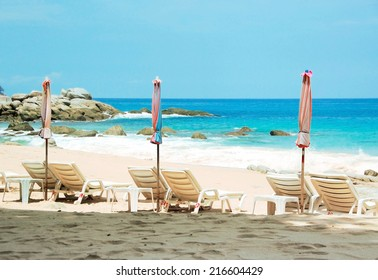 Beach chairs, Phuket, Thailand