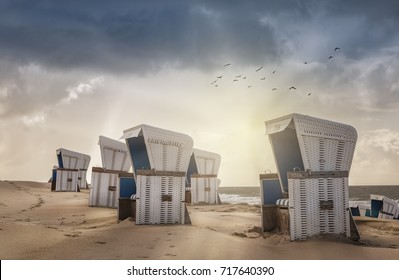 Beach Chairs at sunset of Sylt, Westerland,