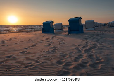 Beach chairs at the beach of Usedom island, Germany