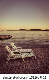 Beach chairs. Vacation Vodice Croatia.