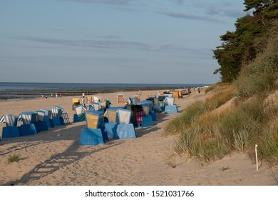 Beach chairs at the wonderful beach of Zempin on the island of Usedom