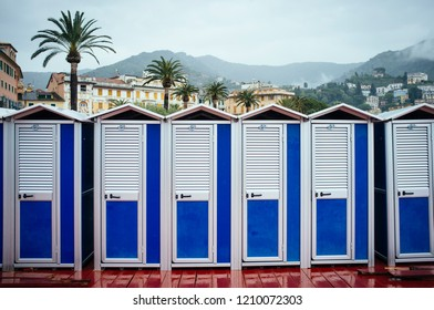 Beach changing cabins in Rapallo, Italy