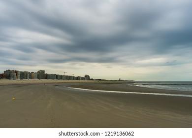 Beach and city scape of Nieuwpoort West Flanders Belgium