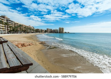 Beach and cityscape of Torrevieja,Spain popular tourist destination