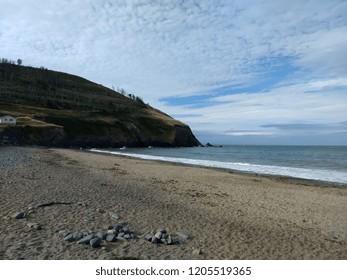 Beach at Clarach Bay near Aberystwyth in Wales, July 2018.