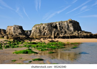Beach and cliff of Port Bara on the wild coast of the peninsula of Quiberon in the Morbihan department in Brittany in north-western France