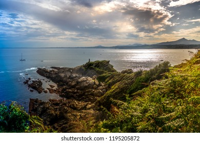 Beach and cliffs in the Atlantic ocean ,Basque country, Hondarribia, Spain