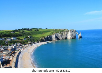 Beach and cliffs of Etretat, a tourist and farming norman french town