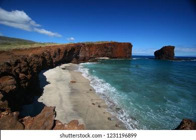 Beach and Cliffs, Lanai, Hawaii