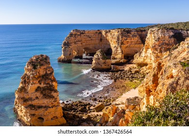 Beach and cliffs of Marinha, in Lagoa, Algarve, Portugal