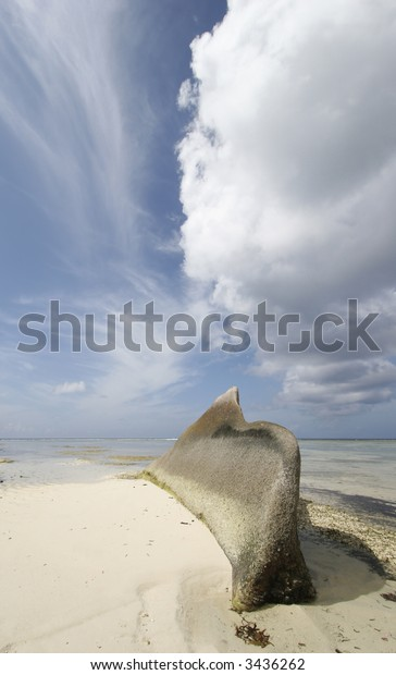 Beach with Cloudscape, Seychelles, Indian Ocean