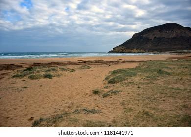 Beach with cloudy blue sky