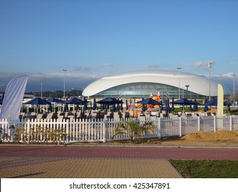 Beach Club on the seafront and ice hockey stadium in the Olympic Park Sochi, Russia, July 15, 2015