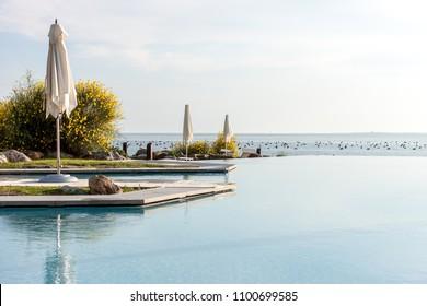 beach club pool over the sea