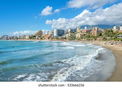 Beach of coastal Benalmadena town. Malaga, Andalusia, Spain