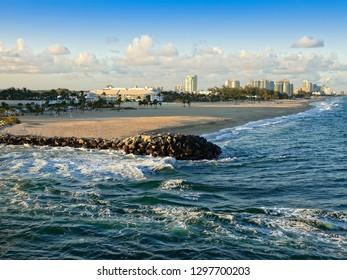Beach coastline in Ft. Lauderdale, Florida and the Atlantic Ocean