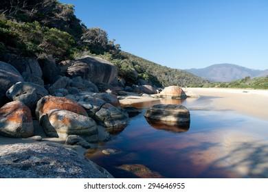 Beach and coastline of Wilson Promontory National Park in Victoria, Australia