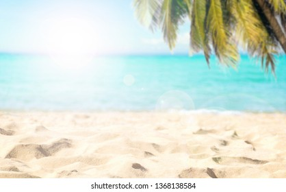 Beach coconut tree and sea clear water of holiday relax summer