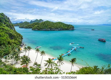 Beach and coconut trees on an island of Ang Thong National Marine Park near Koh Samui in Gulf of Thailand, Surat Thani Province, Thailand