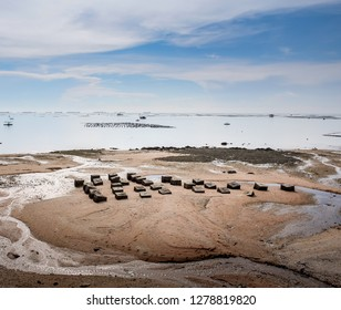 Beach with concrete block at Low tide in Sriracha, Chonburi, Thailand