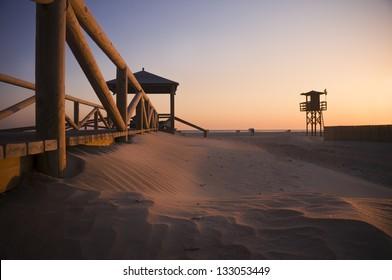 The beach in Conil de la Frontera (Andalusia, Spain) at sunset