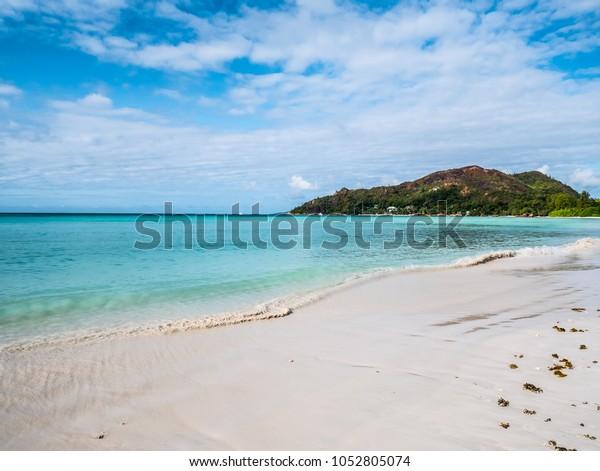 Beach Cote Praslin Island Seychelles Africa Stock Photo