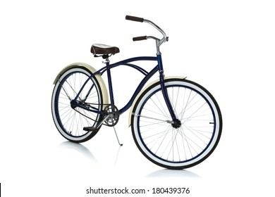Beach cruiser isolated on white angle view