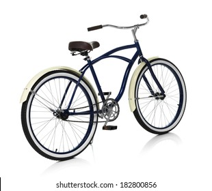 Beach cruiser isolated on white back angle view
