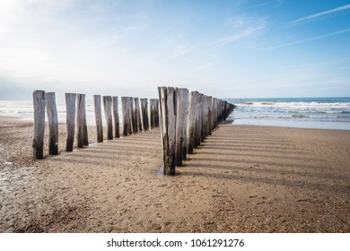 The beach in Domburg, the Netherlands, on a sunny spring day.