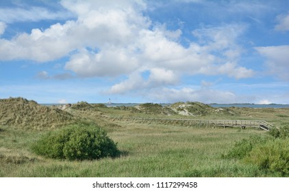 Beach and Dunes of Sankt Peter-Ording with View to famous Westerhever Lighthouse at North Sea,Schleswig-Holstein,Germany