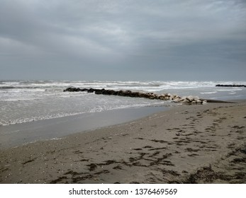 beach during bad cloudy weather