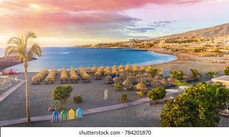 Beach of Fanabe at Adeje Coast, Tenerife, Canary Islands, Spain