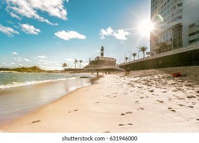 Beach with Farol da Barra in Salvador da Bahia