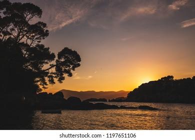 The beach of Fiascherino, near Lerici, Liguria, Italy, at the sunset