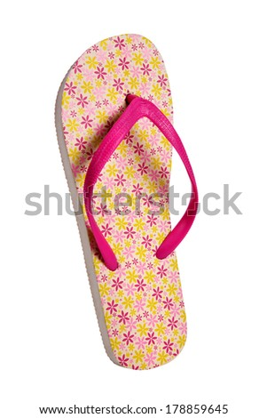64e3aa6ba44b Beach flip flops - Pink flower   object photography in a studio of women s  beach shoes - isolated on white background - Image