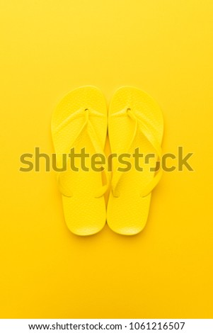 14dec6795863 Beach Flipflops On Yellow Background Summer Stock Photo (Edit Now ...