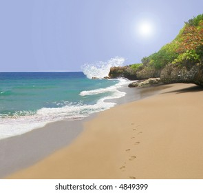 Beach with footprints in sand at water's edge with Spiritual glow in the sky,  horizontal