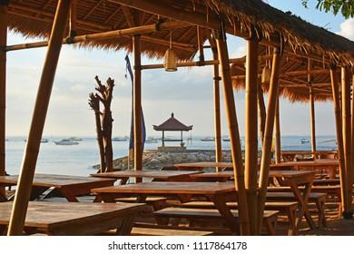 Beach front Bamboo restaurant at Sanur, Bali at Dawn, Indonesia