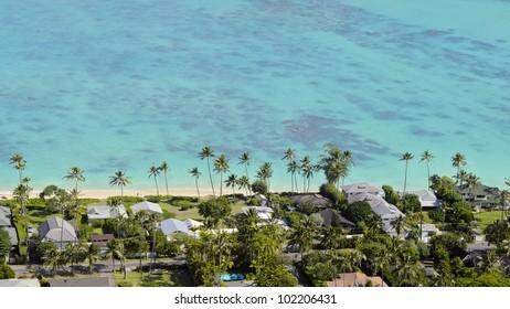 Beach front properties in Kailua, Oahu, Hawaii.