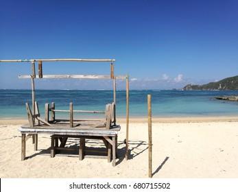 Beach front shops at Kuta Beach, Lombok, Indonesia