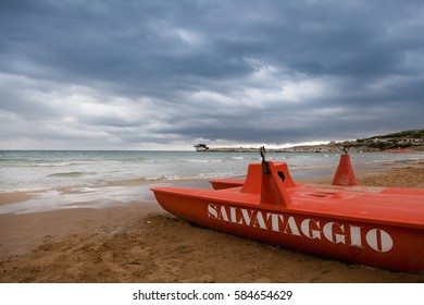 Beach in Gargano, southern Italy, during storms and strong cloudiness