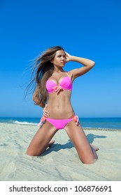 Beach girl in pink