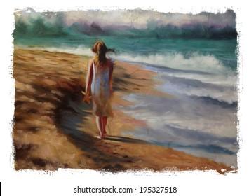 Beach girl starfish Torn Edges