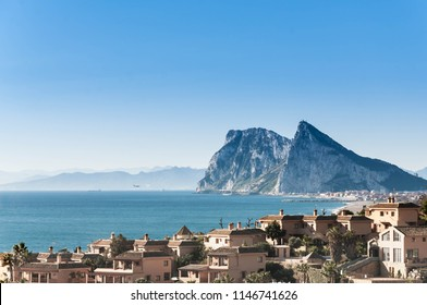 Beach and golf field in La Alcaidesa, Costa del Sol, Spain with Gibraltar in the horizon