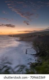 Beach of Grand Anse after Sunset, La Reunion, France