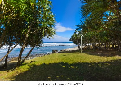 Beach at Grande Anse place, Reunion Island during a sunny day