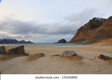 beach haukland utaklev nature reserve islands of Lofoten Norway